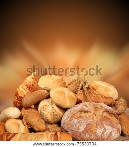 Various kinds of pastry with shiny blur background - stock photo