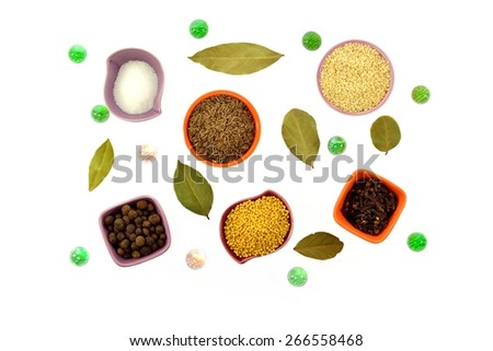 Various kinds of spices in tiny cups on a white background