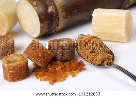 Various kinds of sugar, brown sugar, reed sugar, sugar cane and cane.