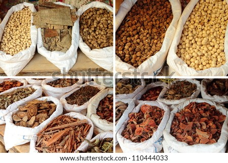 Various kinds of Thai dry herb use for Thai herbal medicine.