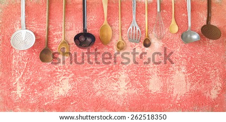 various kitchen utensils, free copy space - stock photo