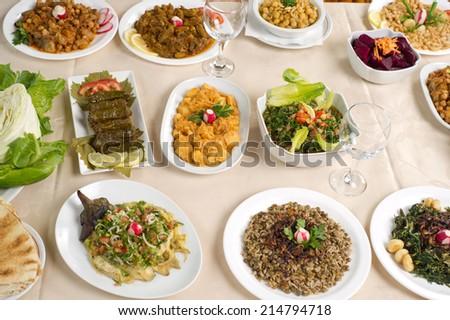 Various Lebanese Plates  - stock photo