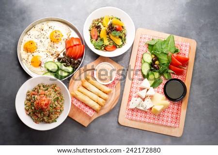 various lebanese plates / Mediterranean cuisine - stock photo