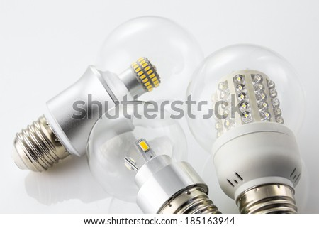 various LED bulbs E27  made with similar to the old tungsten bulb E27 - stock photo