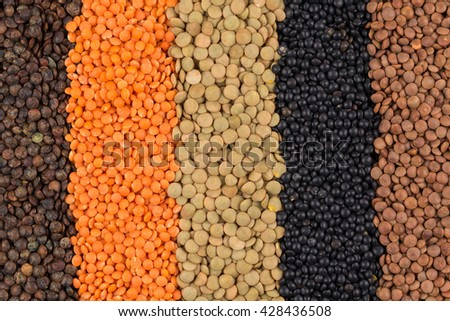various legumes - red, black, yellow, green, brown lentils - stock photo