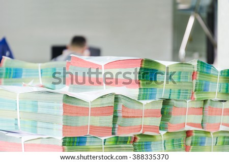 various magazines in pile - stock photo