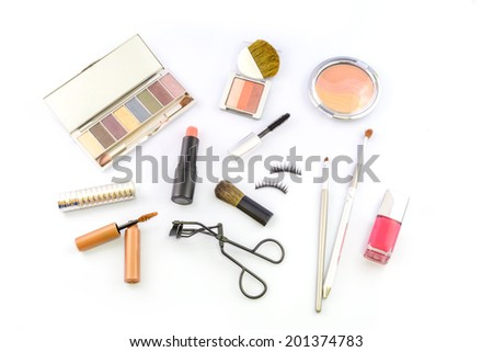 various make up on white background