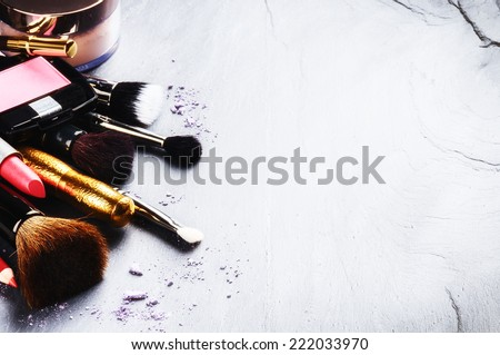 Various makeup products with copyspace  - stock photo