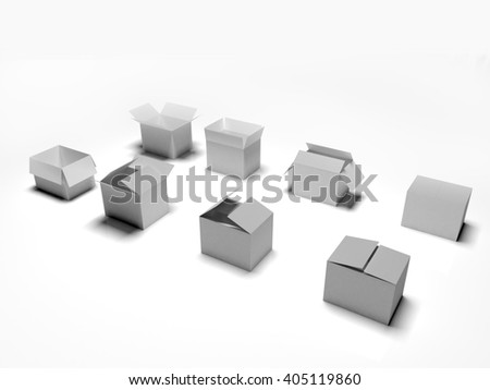 various many open and closed boxes 3d illustration isolated on white background