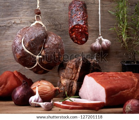various meat and sausages