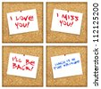 Various messages on a base of cork - stock photo