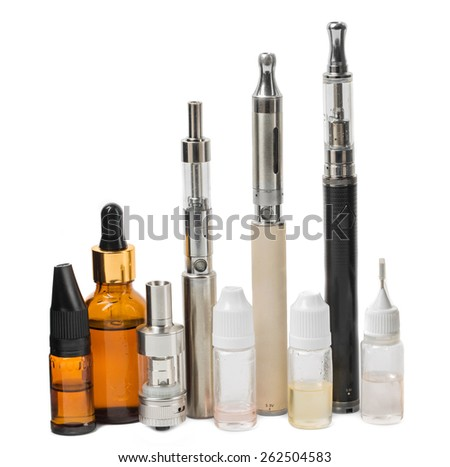 Various modern electronic cigarette vaporizers. Isolated on a white background.