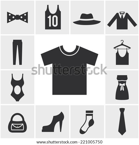 Various Monochrome Clothing Themed Graphics in Square Pattern - stock photo