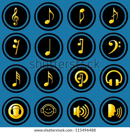 Various musical notes. simple music icons - stock photo