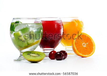 various natural fresh juice and fruits