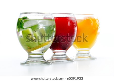 various natural fresh juice and fruits - stock photo