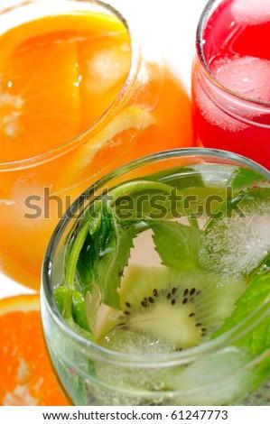 various natural fresh juice and fruits - stock photo