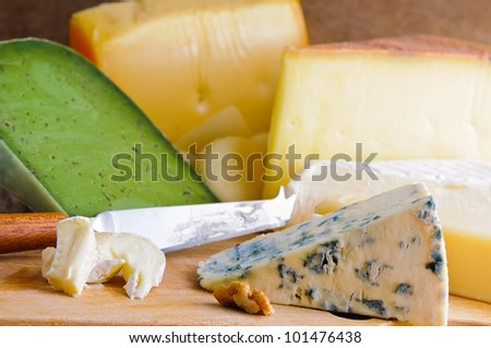 various natural organic cheese and knife