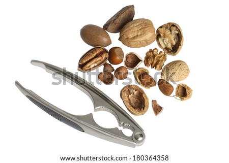 Various nuts and nut cracker on white background - stock photo