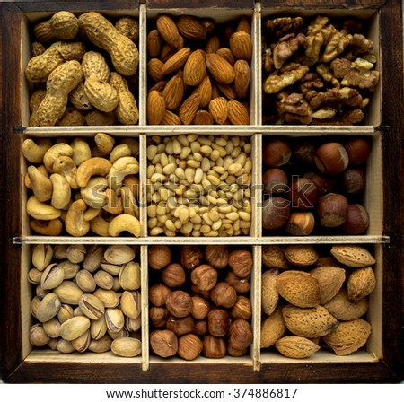 Various nuts in a box