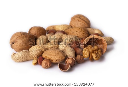 various nuts on white background