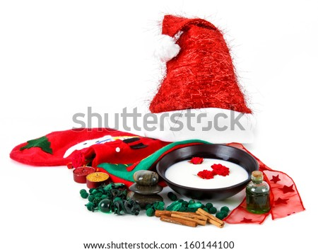 Various objects that represent the spa Christmas - stock photo