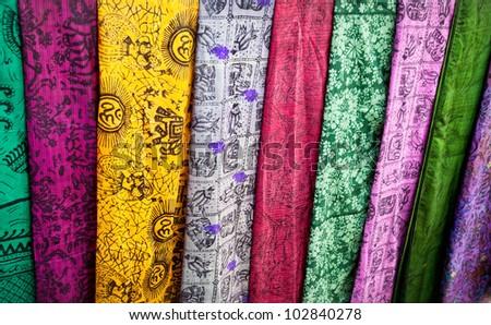 Various of colorful Indian cloth in market, India, Kerala, Varkala - stock photo
