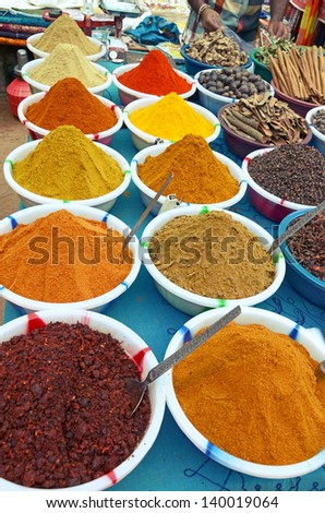 Various of Indian colorful powder spices on the market in India