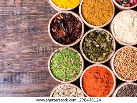 Various of Indian spices collection background .