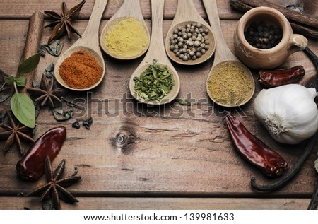 Various of spices on wooden table