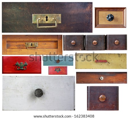 various old drawers on white background - stock photo