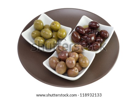 various olives in bowls on the plate