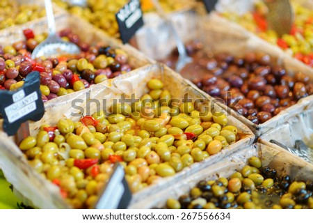 Various olives on Paris farmer agricultural market - stock photo