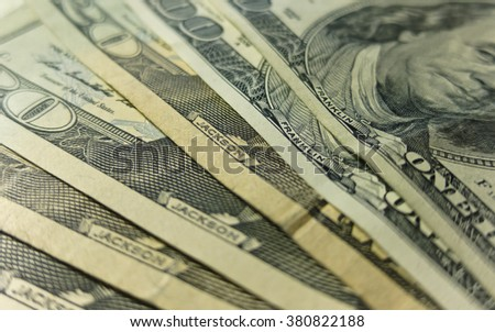 Various paper money dollar banknotes