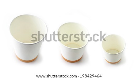 various paper take away coffee cups
