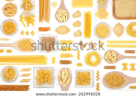 various pasta on white background top view - stock photo