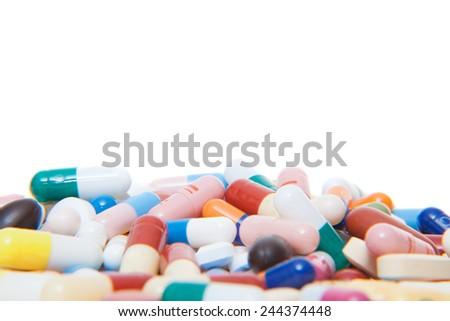 Various pharmaceuticals. All on white background. - stock photo