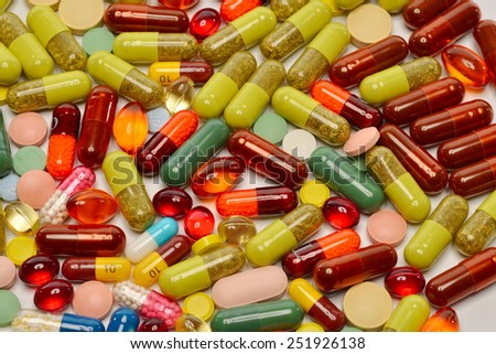 various pills as background - stock photo