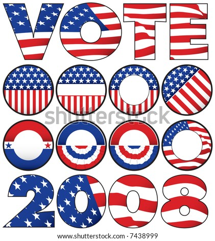 Various Political Buttons and Icons - stock photo