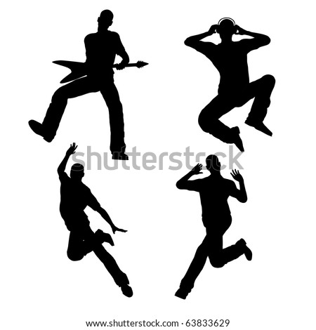 Various pose of man silhouette illustration - stock photo