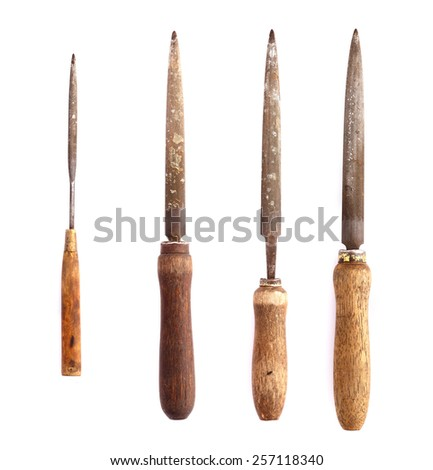 Various rasp tools on isolated