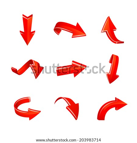 various red arrows set isolated on white background