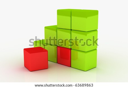 Various red cubes