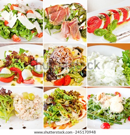 Various salads collage including mix salads, caprese salads, olivier salad, warm salad with tuna and salad with cucumber and garlic sour cream sauce - stock photo