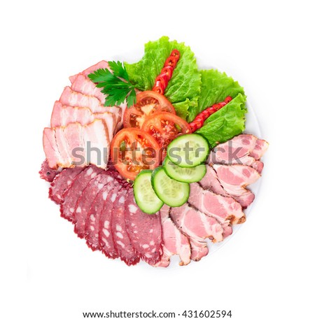 various sausages with vegetables - stock photo