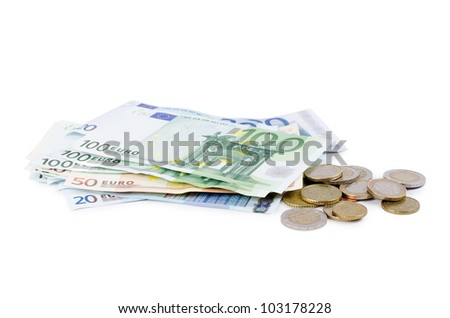 Various scattered Euro currency bills and coins - stock photo