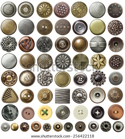 Various sewing buttons and jeans rivets. - stock photo