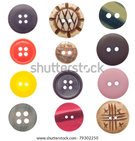 Various sewing buttons set isolated on white background.