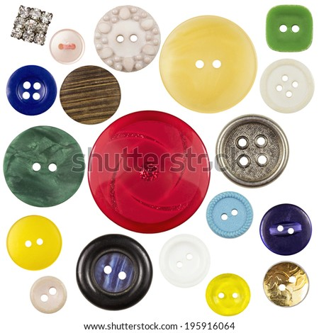 Various sewing buttons with a thread isolated - stock photo