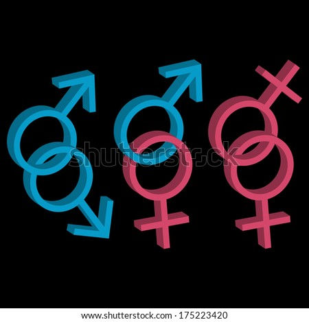 Various sexual orientations three different icons set. Raster version - stock photo